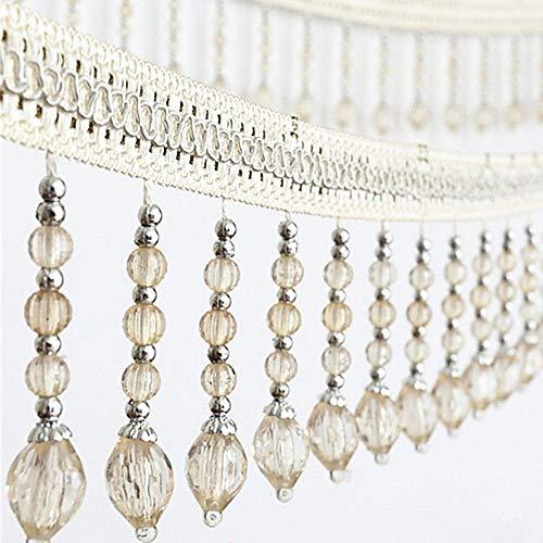 6yards briaded Hängender Perlen Quaste Fransen trimmen Applikation Stoff Band Tape Band Vorhang Tisch Hochzeit verziert beige -