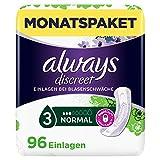 Always Discreet Inkontinenz-Einlagen Normal Spar-Paket bei Blasenschwäche, 96 Einlagen (4 Packungen x 24 Stück)