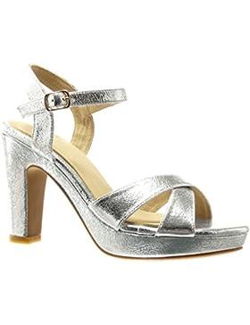 Angkorly - damen Schuhe Sandalen Pumpe - Plateauschuhe - Sexy - String Tanga - Schleife Blockabsatz high heel...
