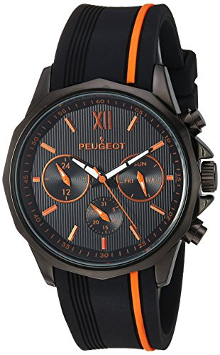 Peugeot Men's Analog-Quartz Watch with Silicone Strap 2046BOR