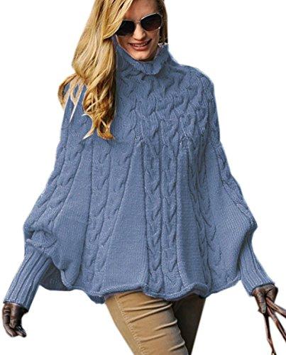 Mikos*Eleganter Damen Poncho Rollkragenpullover Damen Pullover Strickponcho Cape Zopfstickmuster Warm Herbst Pullover (641) (Jeans)