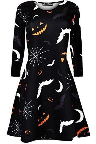 Oops Outlet Kinder Halloween Langärmlig Mädchen Top Pumpkin Spinne Ghost Gespenstisch Halloween Swing Kleid Unheimliche Fledermäuse