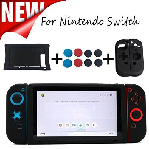 Bescita 2PCS Silikon Case + 1PCS Host Silikon Case + 8PCS Rocker Cap Schutz für Nintendo Switch -