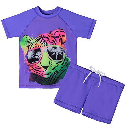 HUANQIUE Boys and Girls 3-12 Years Purple Tiger Swim Short Two Piece 50+UV Swimsuit Costume