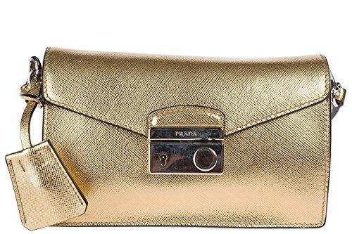 33c5eb54091fa Prada Handtasche Damen Tasche Schultertasche Messenger Bag Gold