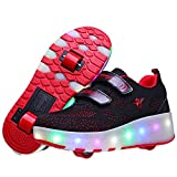 LED Rollschuhe mit Räder und USB Aufladbare 7 Farbe Blinken Skateboardschuhe Kinder Leuchtend Rollenschuhe Outdoorschuhe Gymnastik Mode Turnschuhe für Jungen Mädchen
