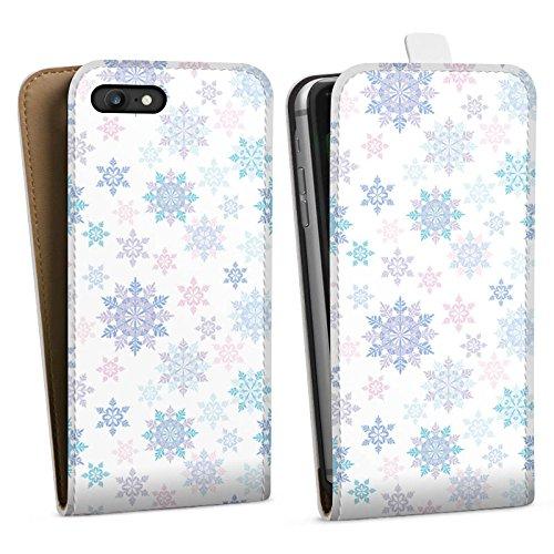 Apple iPhone X Silikon Hülle Case Schutzhülle Frost Schneeflocken Winter Downflip Tasche weiß