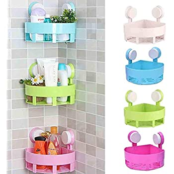 Kelexx Kitchen and Bathroom Storage Organiser Triangle Shelf with Suction Cup Mounting -(Random Color)