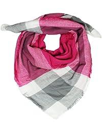 Mevina XXL Damen Schal Kariert übergroßer quadratisch Deckenschal Karo Tartan Streifen Plaid Muster Oversized Fransen Poncho
