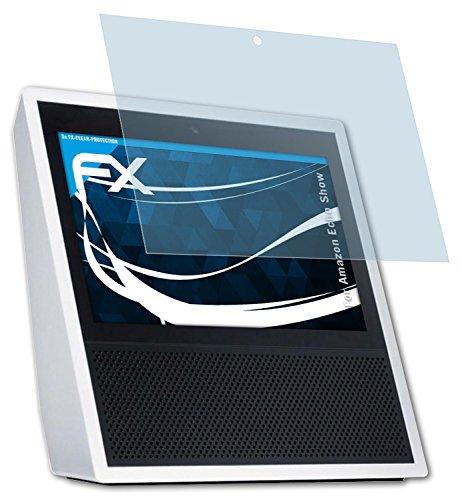 Amazn Echó Show Schutzfolie - 2 x atFoliX FX-Clear kristallklare Folie Displayschutzfolie