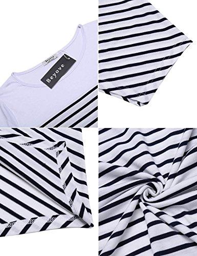 3f2f719375535d ... Chigant Damen Gestreift T-Shirt-Kleid Oversize Longshirt mit Rundhals  Asymmetrischem Saum Für Hersbt