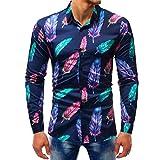 YunYoud Printed Bluse beiläufige lange Hülsen-dünne Hemd-Oberseiten rotes herrenhemd langarm business hemden online kaufen kurz herren hemd mit blumenmuster leinenhemden