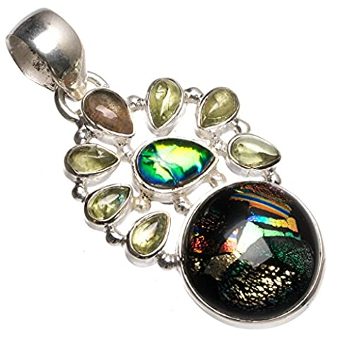 StarGems(tm) Natural Fancy Dichroic Glass and Peridot Handmade Mexican 925 Sterling Silver Pendant 1