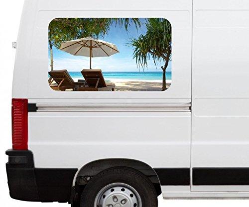 Autoaufkleber Meer Strand Palme Stühle Liege Ruhe Car Wohnmobil Auto tuning Digital Druck Fenster Sticker LKW Bild Aufkleber 21B457, Größe 3D sticker:ca. 45cmx27cm (Styling Stuhl)