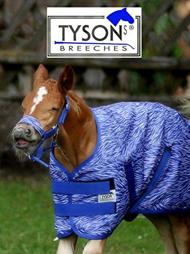 Tysons Breeches  1200 D Fohlendecke 55 65 cm Kaltblut Warmblut Blau o Pink Fohlen Regendecke extra Brustlatz NUR Klett !!! (65 cm, Blau)