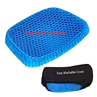 Gel Seat Cushion Pad Support Coccyx Cushion Honeycomb Air Circulation with Breathable Cover Non Slip Bottom for Car Home Office Wheelchair Black