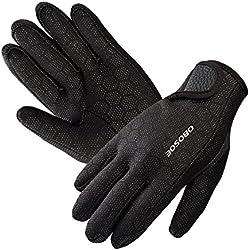 Submarinismo, OBOSOE Premium Guantes de neopreno elástico guantes 1.5 mm para deportes en el agua buceo segeln Surf Negro, medium