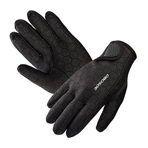 Tauchhandschuhe, OBOSOE Premium Neoprenhandschuhe hochelastisch Handschuhe 1.5mm für Sport im Wasser Tauchen Segeln Surfen schwarz L