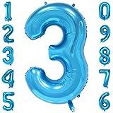 40-Zoll 0-9 in Blau Nummer Foil Ballons Helium Zahlenballon Luftballon Riesenzahl Party Hochzeit Kindergeburtstag Geburtstag Nummer 3