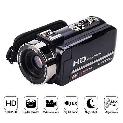 Videocamera digitale 1080p fhd full hd, visione notturna ir infrarossi, zoom digitale 16x, 24mp, schermo touch da 3