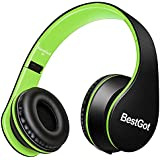 BestGot Headphones Over Ear Kids Headphones with Microphone Volume Control Lightweight Noise Isolating Headsets with Detachable 3.5mm Cable for Apple Android Smartphone Tablets Laptop (Black/Green)