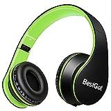 BestGot Kinder Kopfhörer Over Ear Stereo Kopfhörer für Kinder Mit Begrenzter Lautstärke und Abnehmbarem Kabel für Jungen und Mädchen (Schwarz/Grüne)