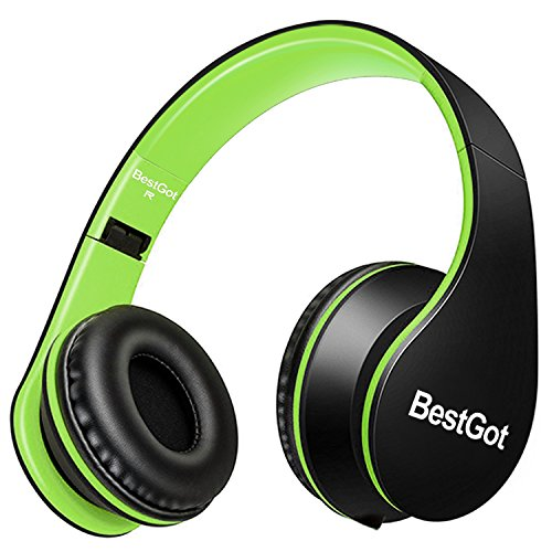 BestGot Cuffie sopra l'orecchio bambini Cuffie con microfono Controllo del volume Rumore leggero isolamento Cuffie con staccabile 3,5mm cavo per Apple Smartphone Android compresse Laptop (Nero/Verde)