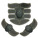 SODIAL Almohadillas para entrenador de estimulacion muscular electrica negra macho forma de cuerpo quema de grasa