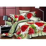 200x220 3D Bettwäsche 4tlg Bettwäscheset Blumen-Motiv Bettbezüge Microfaser Bettwäschegarnituren FSH 407