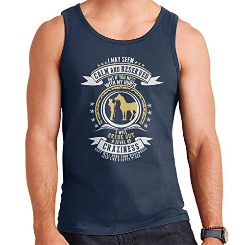 If You Mess With My Horse Men's Vest Navy Blue