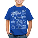 style3 ECTO-1 Blaupause Kinder T-Shirt geisterjäger, Farbe:Blau, Größe:128