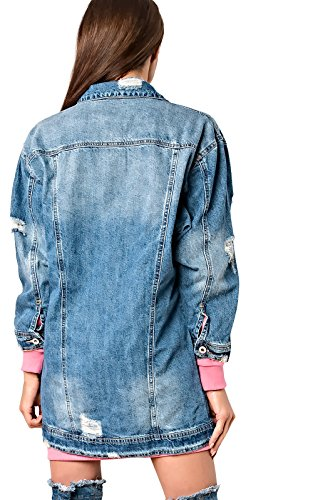 Women's Ladies Gorgeous Glam Oversized Denim Jacket Denim