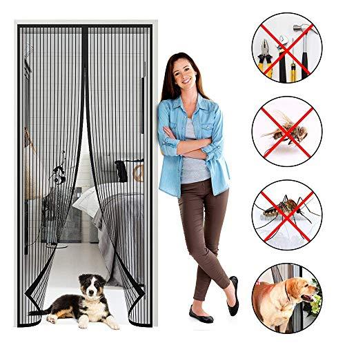 Slm-max porta zanzariera magnetica per zanzariera, richiudibile a chiusura automatica facile da installare, per porta soggiorno/patio - nera,120x230cm