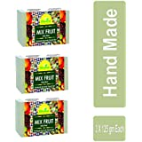 Divine India Mix Fruit Soap, Herbal and Handcrafted, 125 g (Pack of 3)