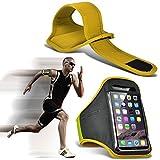 (Yellow) BQ Aquaris M4 5 Hülle Einstellbare Sport Armband Fall Abdeckung für Laufen Jogging Radfahren Gym By Fone Case®