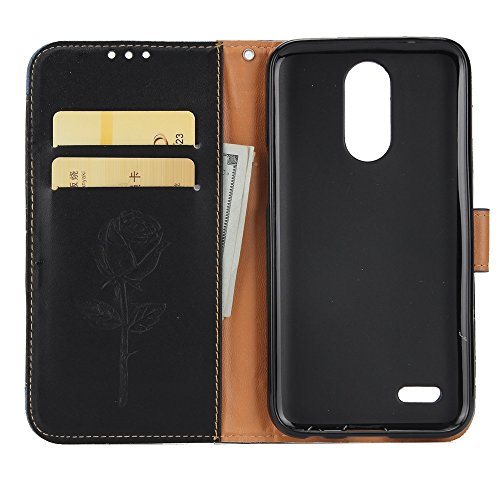 Dual Color Matching Premium PU Leder Flip Stand Case Cover mit Card Cash Slots und Lanyard für LG K10 2017 ( Color : Brown ) Black