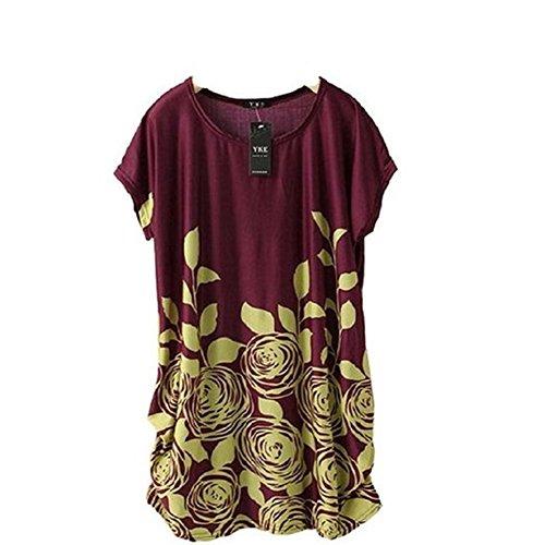 Ineternet 1pc Femme Soie Coton Robe Manches Courtes Occasionnel Robe Lâche T Shirt Blouse Haut de Glace (Violet) Ineternet