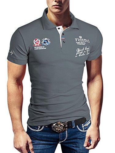 Polo New Poloshirt T-Shirt Shirt Hemd Party Slim Herren Kurzarm Pique Wow, Größe:XXL, Farbe:Grau -