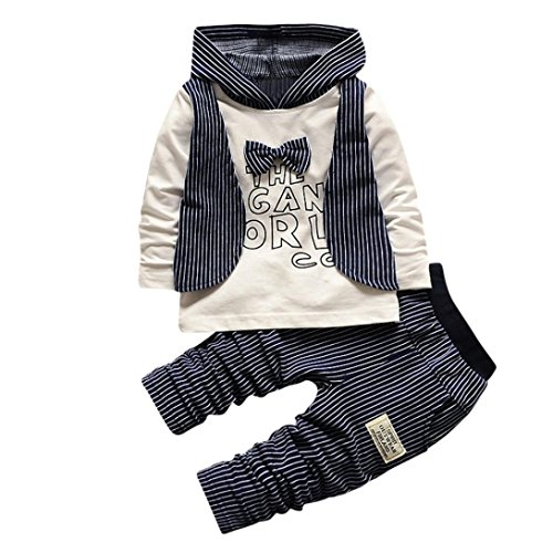 Kobay 2pcs Infant Kleinkind Baby Jungen Streifen Hoodie Tops + Hosen Outfits Kleidung Set (S, Marine) (Outfit-kleidung-shop)
