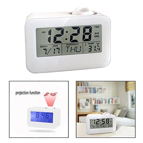 OFKPO Reloj Despertador con Proyector,Control por Voz/Luz LED/Temperatura/Día/Fecha