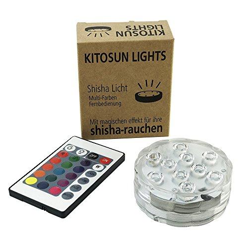 Shisha LED Licht KITOSUN 10-LED RGB Multi Farbe wasserdichte LED Lichter mit IR Fernbedienung, batteriebetriebene wiederverwendbare Mini LED Licht für Halloween Pool Vase Hochzeit Dekoration (1 Packung)