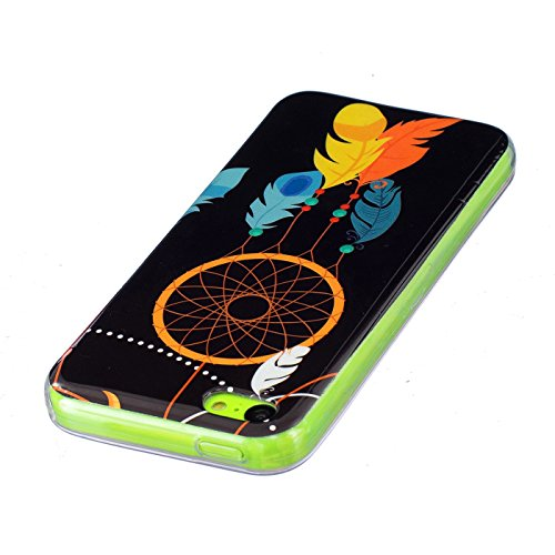 HLZDH Coque Coque TPU Silicone Housse Souple de Protection Etui Flexible Ultra Fine Cas Case Motif motif coloré Poids Léger Coquille Anti Rayure Anti Choc avec Fonction Lumineuse pour iPhone 5C image-6