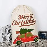 10 Piezas de Navidad Santa Saco Personalizado para niños Lienzo en Blanco Bolsa de Lazo Extra Grande tamaño Decoraciones de Navidad, Bolsas de Regalo para la Boda o Fiesta,D