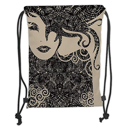 Icndpshorts Drawstring Backpacks Bags,Modern Decor,Woman with Cool Posing Wavy Sexy Hot Hair and Vamp Makeup Image Print,Tan and Dark Taupe Soft Satin,5 Liter Capacity,Adjustable String Closur (Tan Sexy Dark)