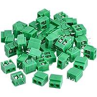 50 Piezas 2 Pin 5 mm Conector PCB de Bloqueo de Terminal de Tornillo de Montaje 300V 10A (Verde)