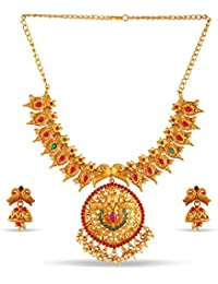 Variation Ruby Emerald Gold Plated Incredible Jewellery Collection Necklace Set-VD18180