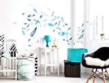 Wandtattoo Schlafzimmer Kinderzimmer Wandsticker Set Federn in Blau Stück zum K für Wandtattoo Schlafzimmer Kinderzimmer Wandsticker Set Federn in Blau Stück zum K
