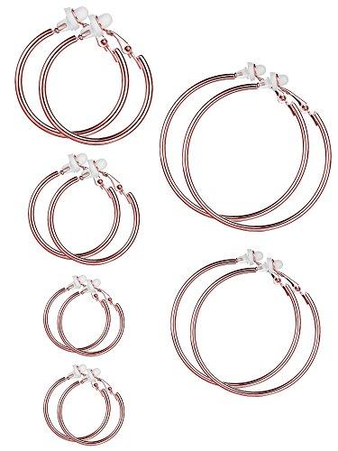6 Paar Hoop Ohrringe Clip On Ohrringe nicht Piercing Ohrringe Set für Damen und Mädchen, 6 Größen (Rosa Gold) (8 Größe Mode-ringe)