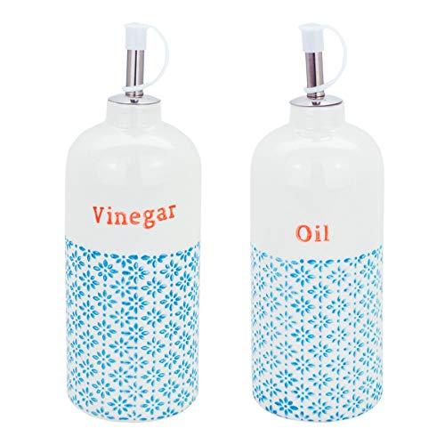 Nicola Spring Porzellan Essig/Öl-Zufuhr-Flaschen - Blau/Orange Print - 500ml - Set aus 2 Drizzler-set