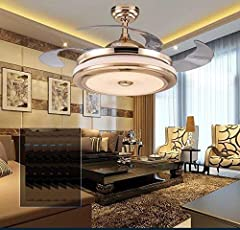 Ceiling Fan with Speaker, Bluetooth Enabled & Color Changing LED Light, Without Noise, Remote Control,Energy Saving (10 Year Replacement Warranty)